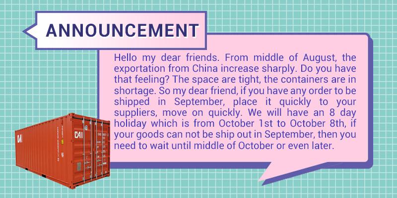 Announcement notice